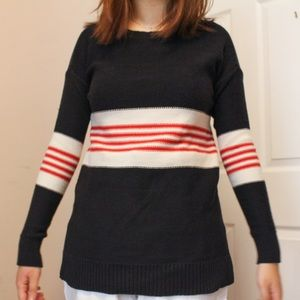 striped colorblock black white red knit sweater